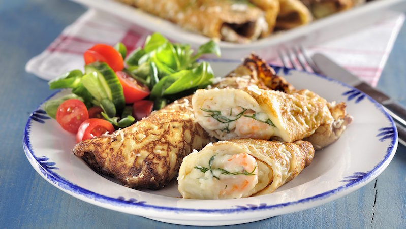 Kalasgoda crêpes med räkor