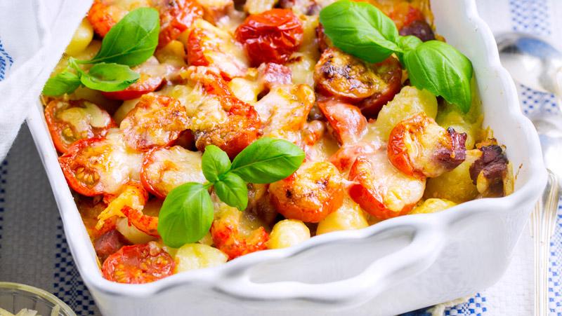 Gratäng med gnocchi och skinka recept
