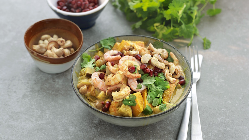 Smakrik räkgryta med cashewnötter och curry