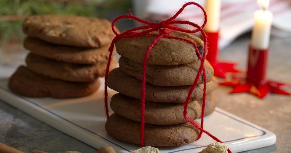 Pepparkakascookies med choklad