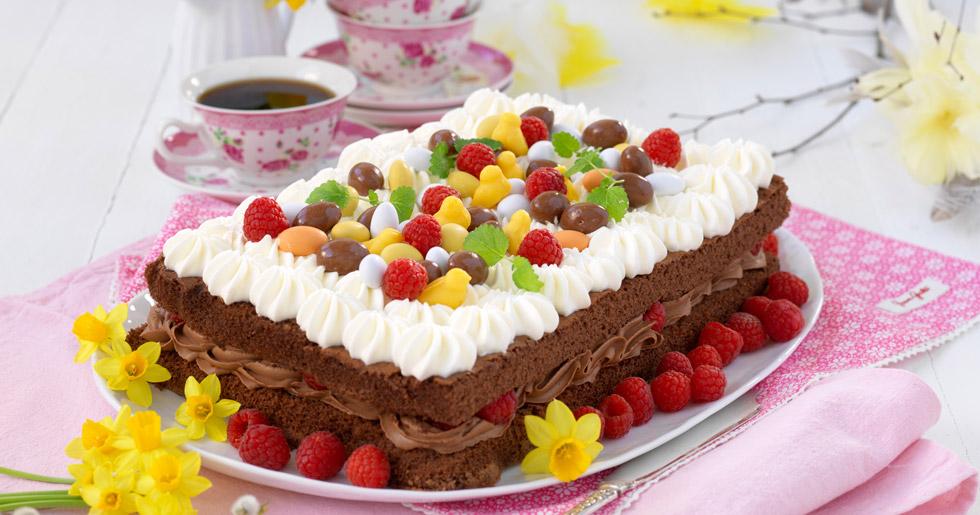 Påsktårta med hallon och choklad