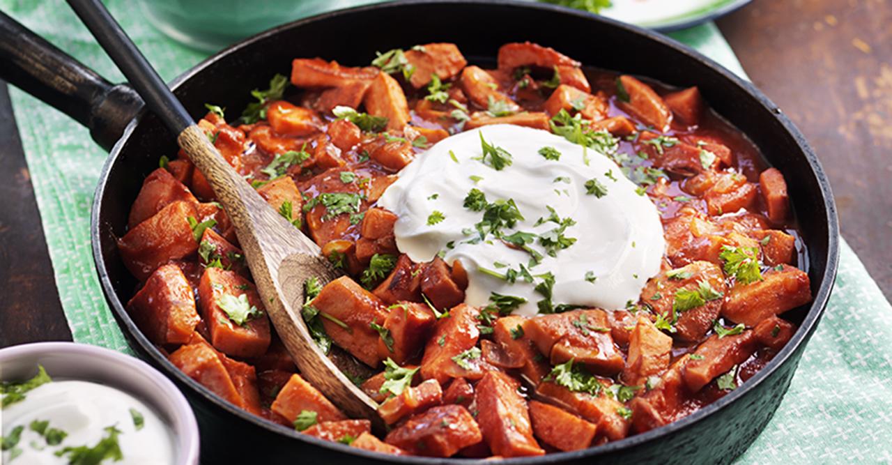korv stroganoff med potatismos