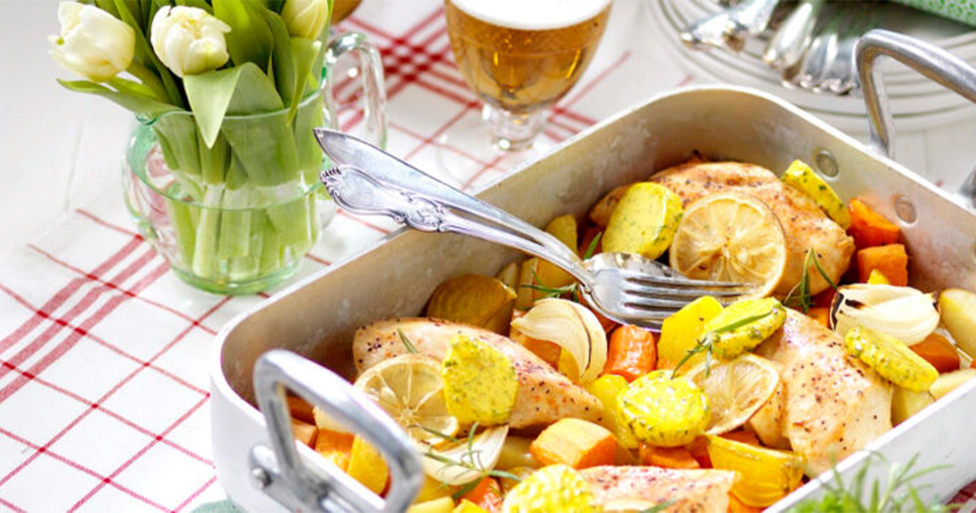 Kycklingfilé med curry- och örtsmör