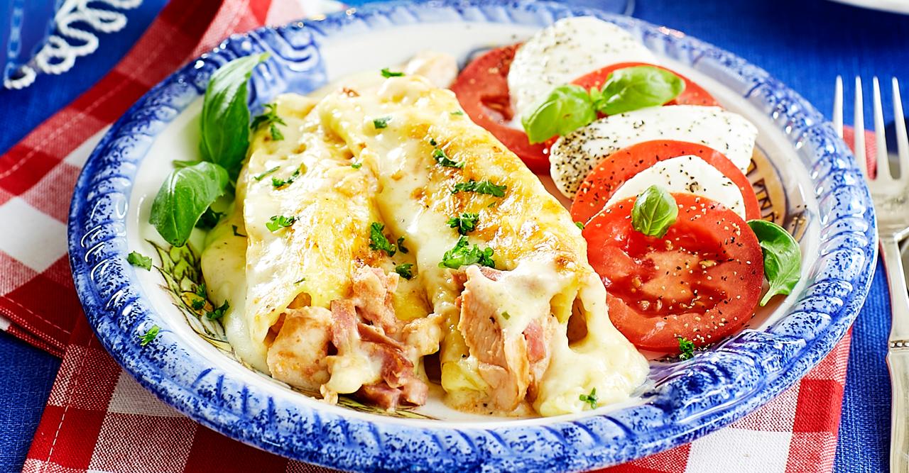 Kyckling Alfredo canneloni  med ostsås – recept