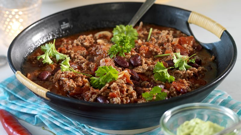 Chili con carne med färsk chili