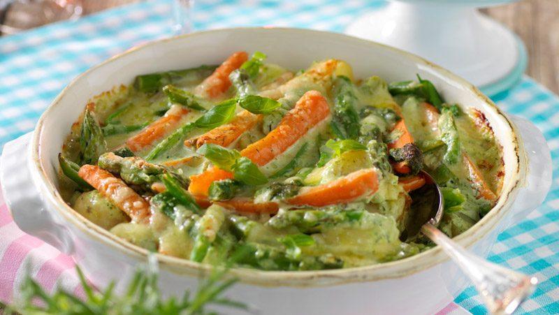 Gratäng med sparris morötter och dill recept