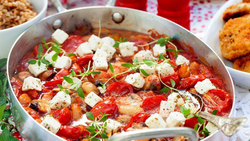 Gratäng med tomat vita bönor och fetaost recept