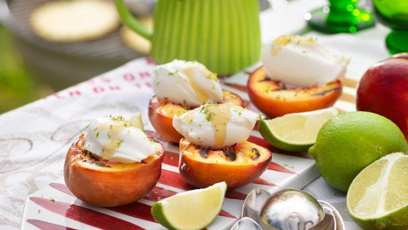 Grillade nektariner med mascarpone recept