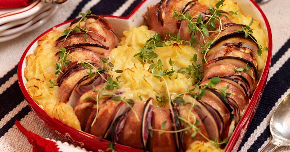 Gratang Med Falukorv Och Potatismos Recept Allas Recept