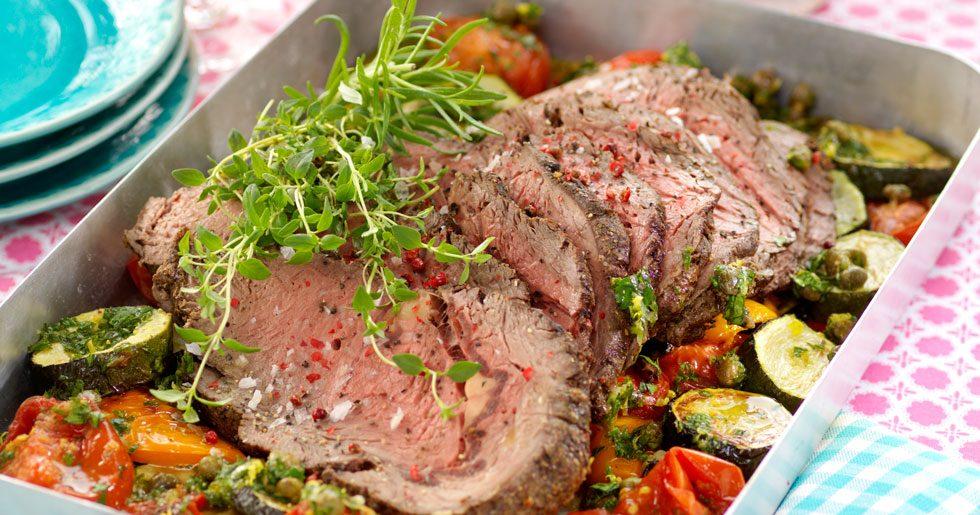 Pepparentrecote med grillade grönsaker och bearnaise
