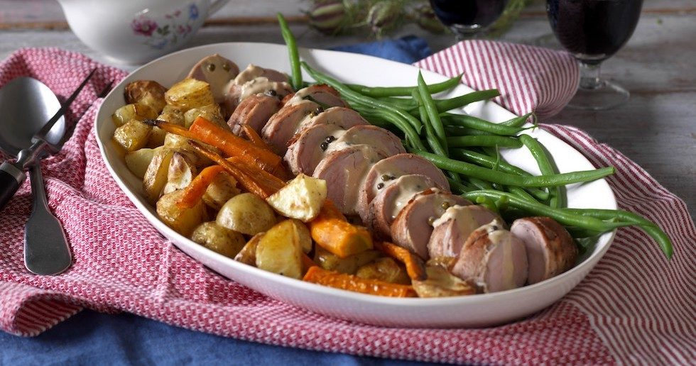 Recept: Fläskfilé med grönpepparsås och rostad potatis