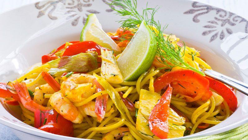 pasta med räkor och saffran recept