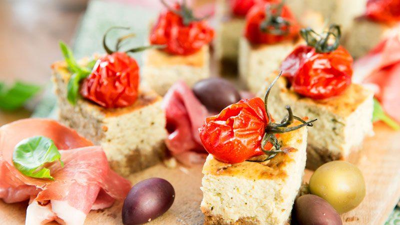 Matig cheesecake med italienska smaker
