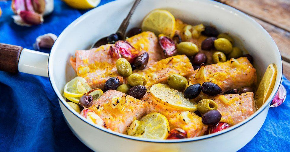 Citronlax i ugn med oliver och vitlök