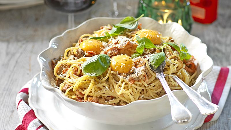 Spaghetti carbonara med svamp