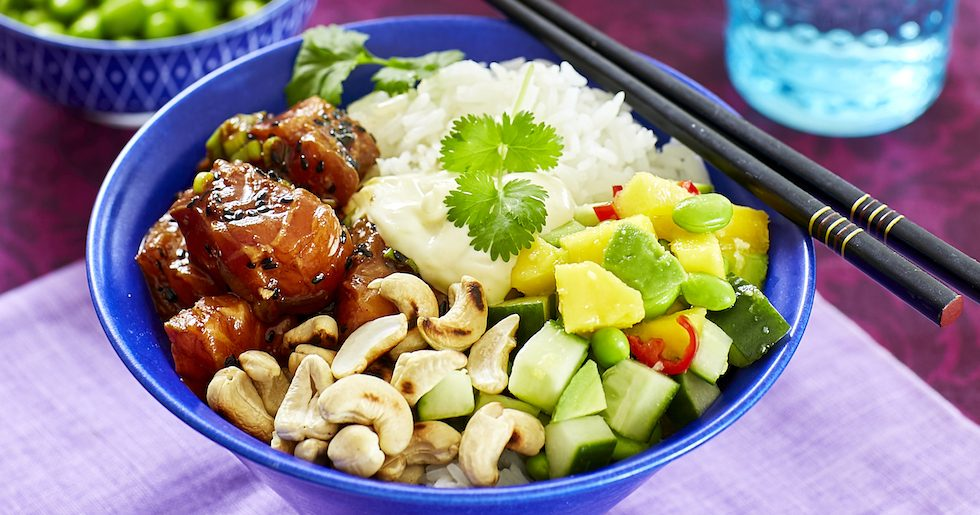 Poké bowl med lax