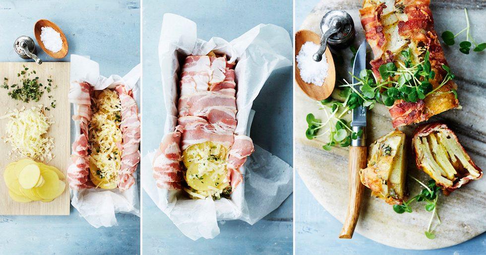 Superläcker potatisterrin med bacon och ost
