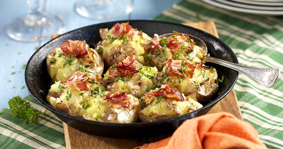 Krossad potatis med bacon