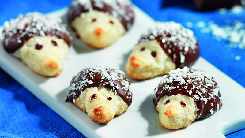 Mandelkakor med kokos och choklad