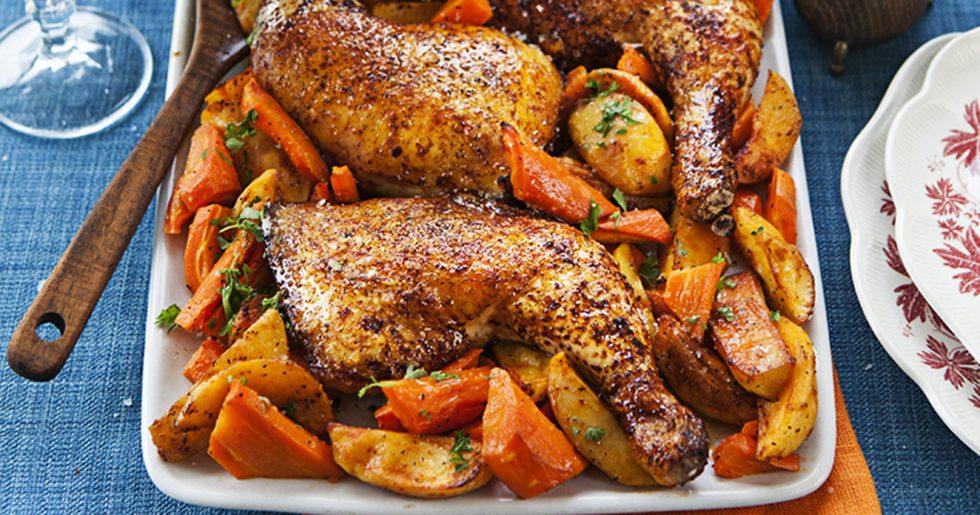 Kycklingklubbor med rostade morötter