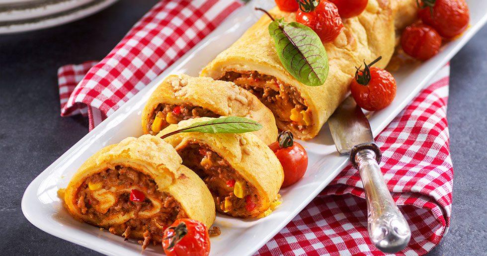 Pannkaksrulle med het tacofyllning