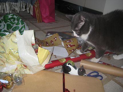 Katt hjälper till att slå in julklappar